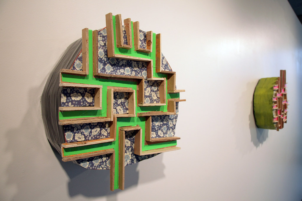 <em>Green Path</em> (2012), wood, paper,  and tape.