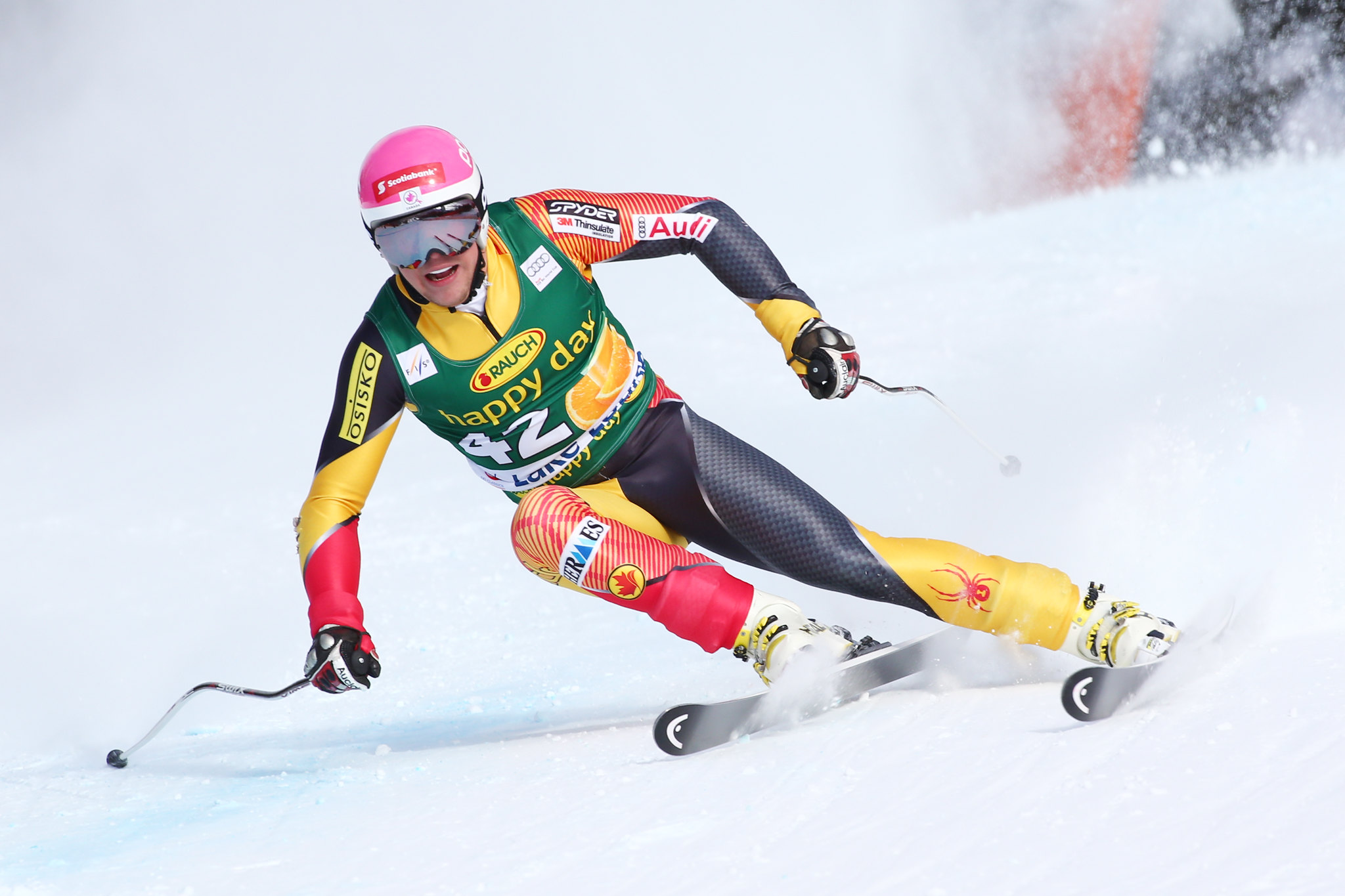 Ben Thomsen in action during World Cup super-G in Lake Louise.