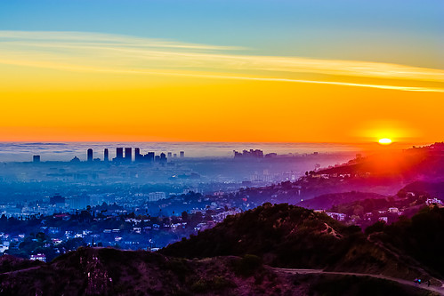 california sunset fog skyline la smog losangeles haze cityscape hills explore hollywood hdr hollywoodhills marinelayer smoggy laist 3xp 32bitmerge