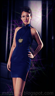 denim cheongsam navy