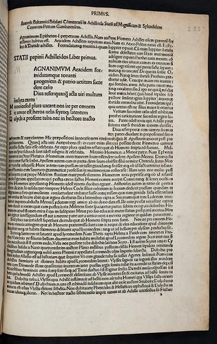 Title incipit of Statius, Publius Papinius: Achilleis