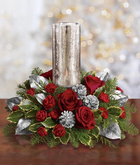 Teleflora s silver glow christmas centerpiece flickr