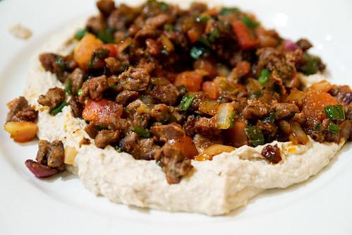 Hummus and lamb segar