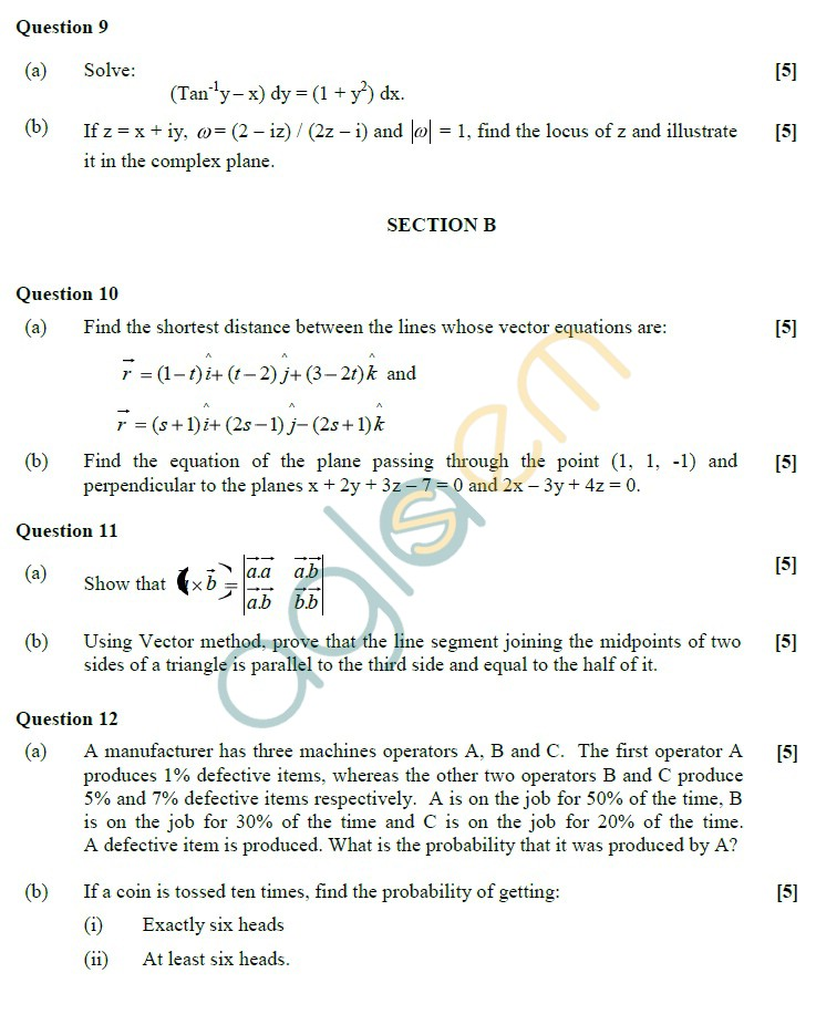 ISC Class 12 Mathematics Sample Paper