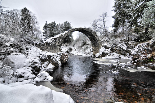 Carrbridge Snow Pack Horse Bridge ASN6801 www.aaronsneddon.com and www.aerialscotland.co.uk