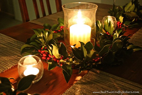 Holly Wreath as a Table Centerpiece