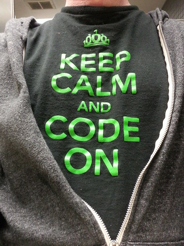 Keep calm and code on, n00bs. #geek #work #office #workflow #programmer #software #developer #shirt