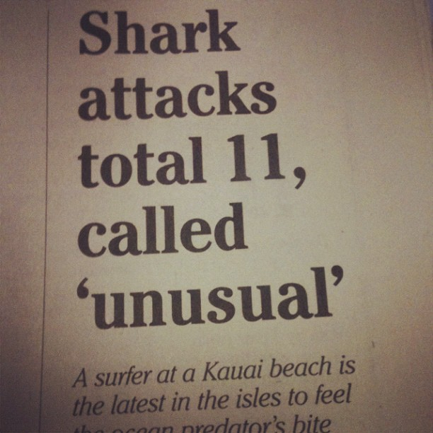 So before going on my shark cage dive today in #hawaii, I read about this in the paper. #eep!
