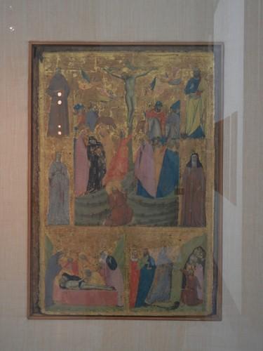 DSCN3274 _ Crocifissione di Cristo. [in basso] Sepoltura di Cristo e Discesa al Limbo. Santi Francesco, Caterina, Bartolomeo e Chiara, Baronzio Giovanni, c 1330