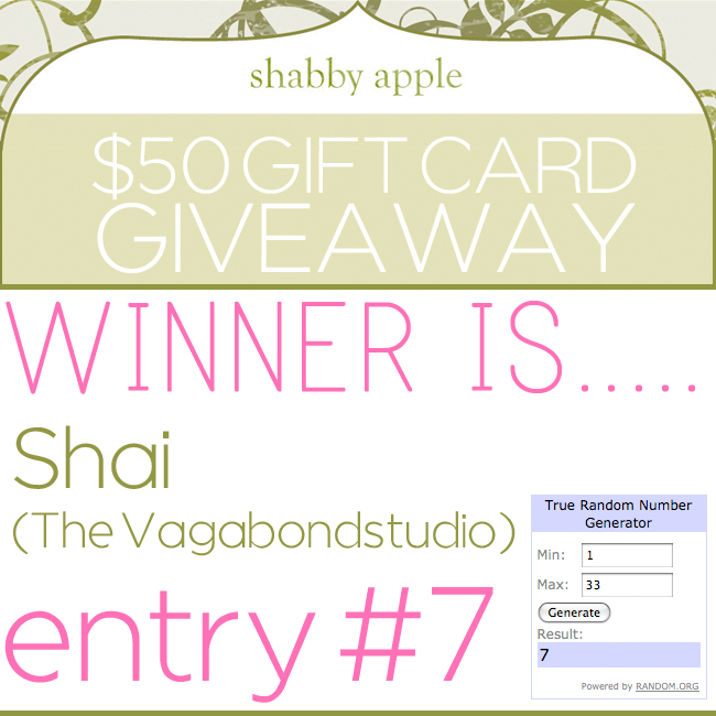 Giveaway winner shabbyapple dec