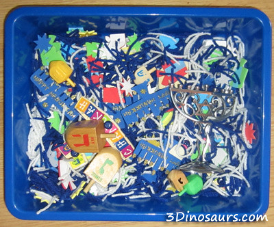 Hanukkah Sensory Bin (Photo from 3 Dinosaurs)