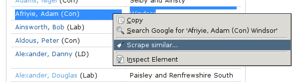 Scraping websites using the Scraper extension for Chrome | School of