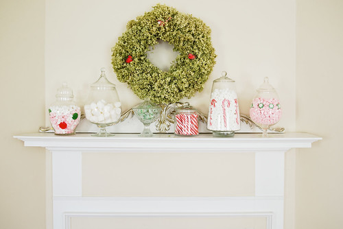 Candyland Christmas mantel.