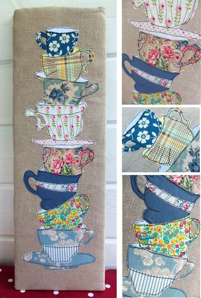 Tea Cups Applique Picture Bustle Amp Sew