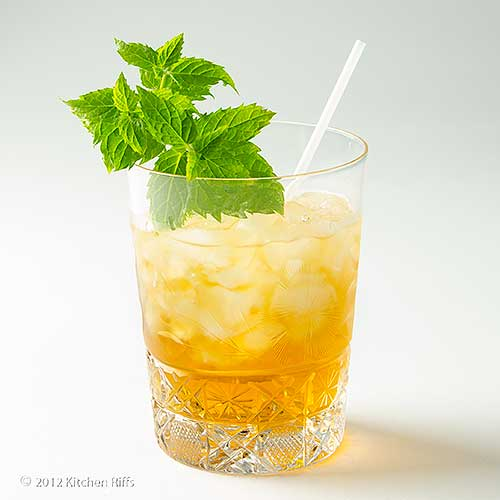 Stinger Cocktail in Rock Glass with Mint Garnish