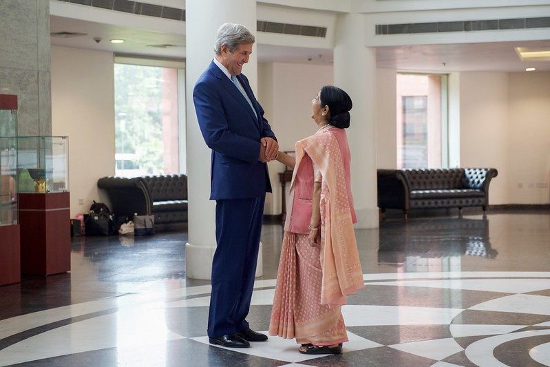Secretary Kerry Shakes Hands With Indian Minister of External Affairs Shushma Swaraj  After he Arrived to Jawarhalal Nehru Bhawan in New Delhi