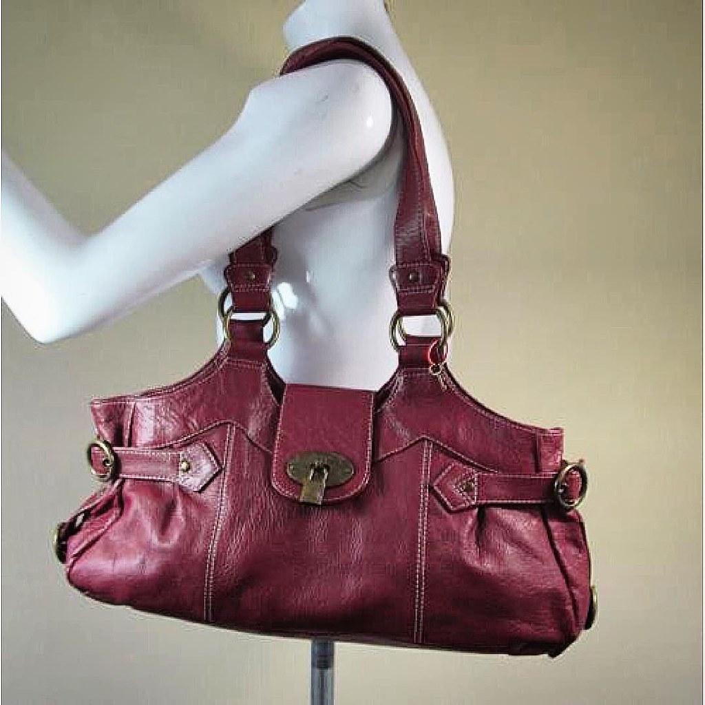 762546b1a1 ... Tommy and Kate burgundy large leather shoulder bag handbag purse R14839  #style #fashion #