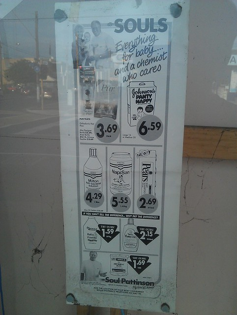 Old advertising in chemist window