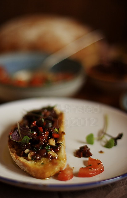 Olive and Chili Tapenade Bruschetta