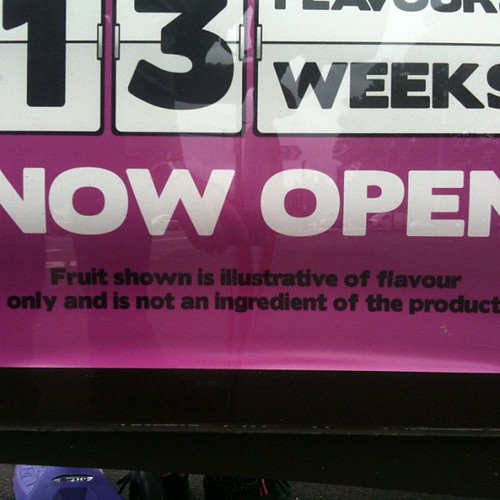 Fruit shown is illustrative of flavour only and is not an Ingrediant of the product #sign #fineprint