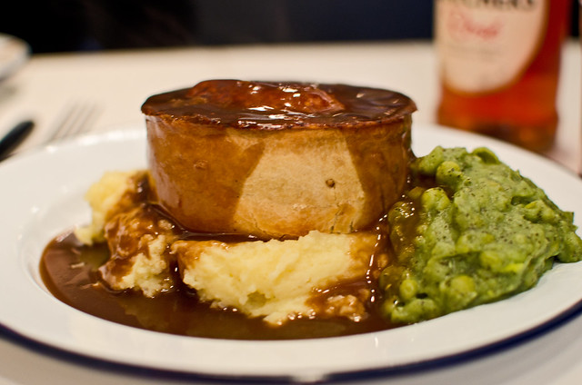 Matador Pieminister pie with mash gravy and minty mushy peas