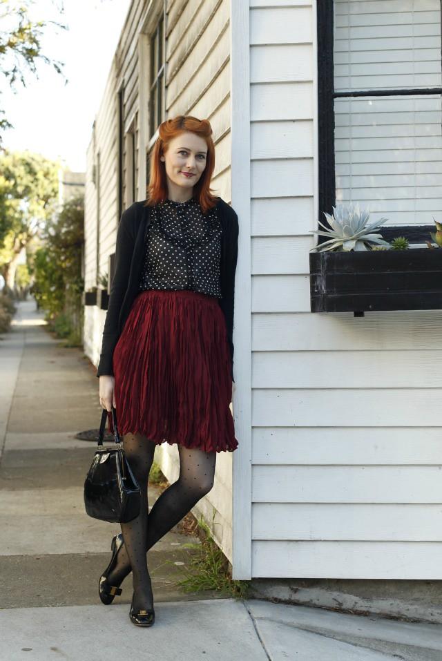 burgundy skirt 1
