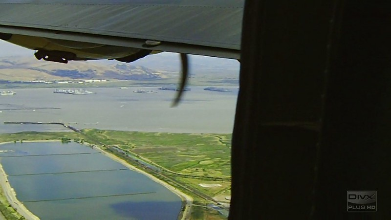 B-24 Witchcraft flight past  the Ghost Fleet, Benicia
