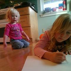 Elliora, post-nap; Annalie, mid-sketching. #latergram