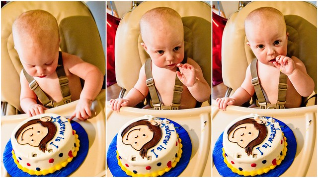 Baby Eating Curious George Cake