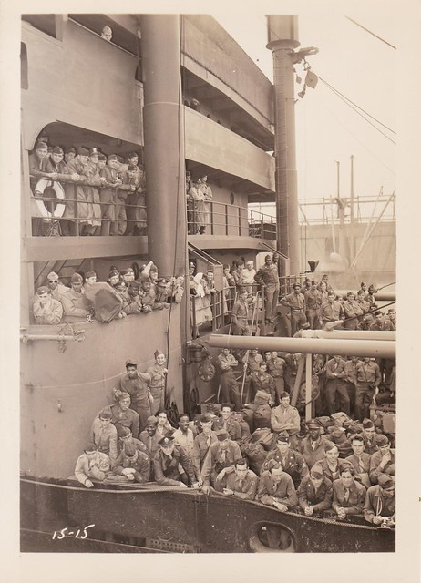 Returning WWII Troops arriving at New York aboard the SS Wheaton Victory