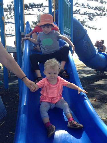 Isaac and Evie at the park