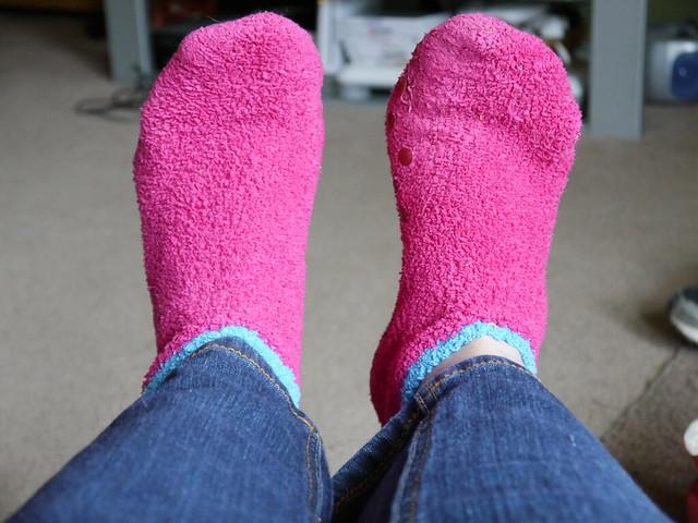 fuzzy pink socks!