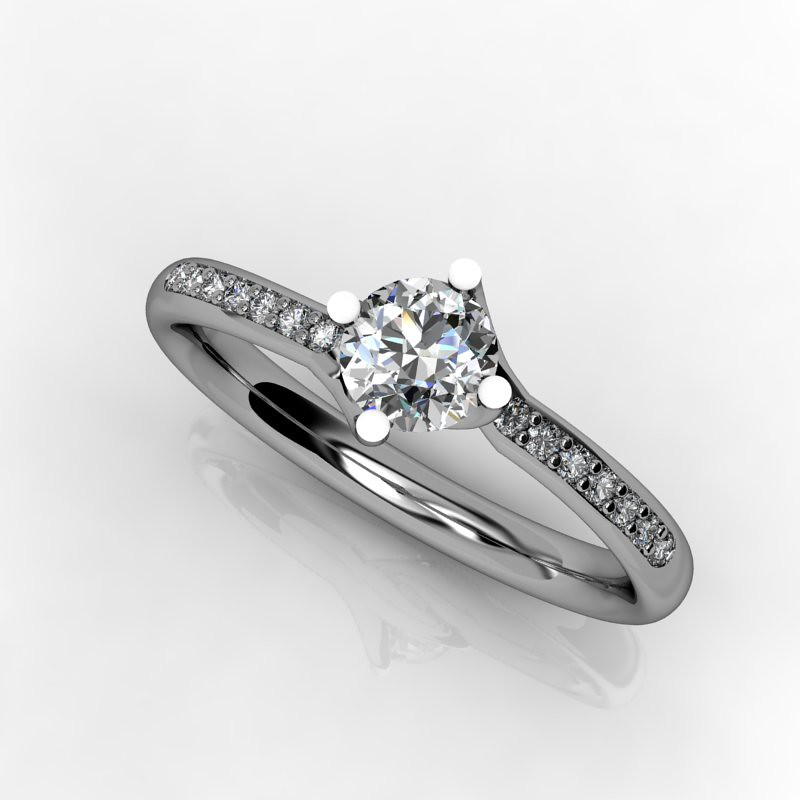 Twist with diamonds in the band  - Bespoke Engagement Ring