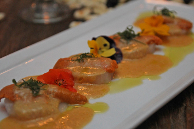 Uni scallop tiradito by Caroline on Crack