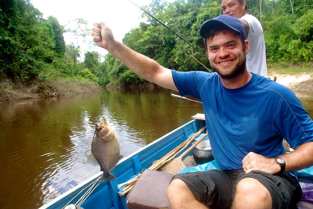 fishing for pirhanas in amazon