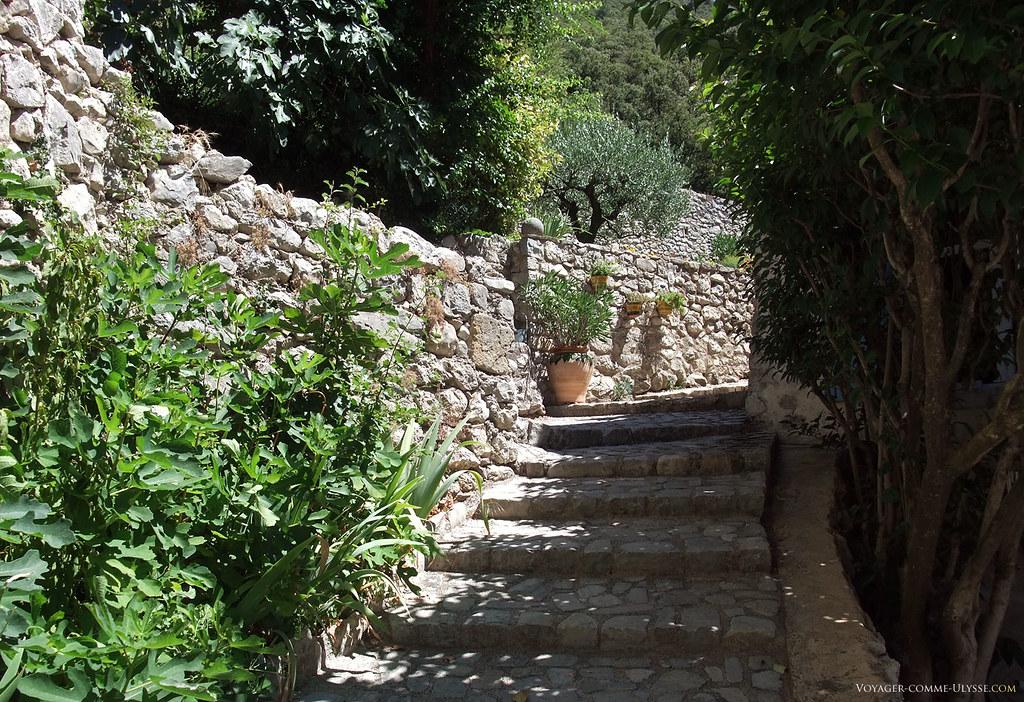 Sur un village situé à flanc de colline, il est normal de trouver ces marches de pierre un peu partout.