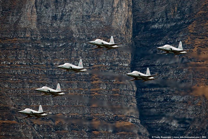 Swiss AF F-5Es flypast at AXALP