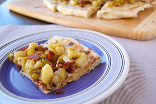 Flatbread with Apple, Bacon, and Leek