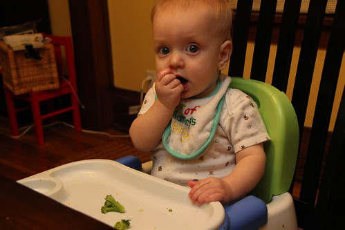 Luke eating broccoli