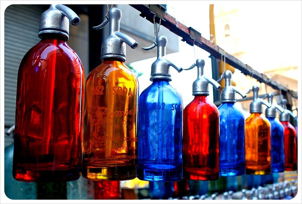 san telmo market soda bottles