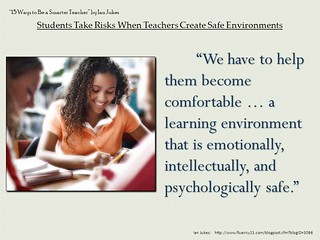 "Powerpoint slide:  ""Teachers need to make students feel comfortable for learning to occur"""