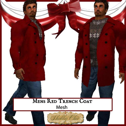 Shabby Chic Mens Red Trench Coat by Shabby Chics
