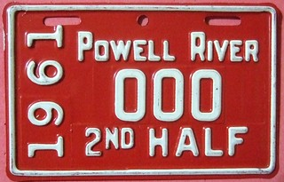 B.C. POWELL RIVER 1961 2nd HALF ---SUPPLEMENTAL SAMPLE LICENSE PLATE