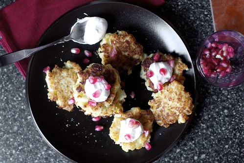 cauliflower fritters with feta, yogurt, pomegranate
