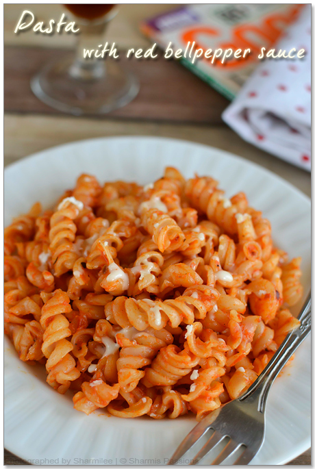 Fusilli Pasta in Roasted Red Bell Pepper Sauce