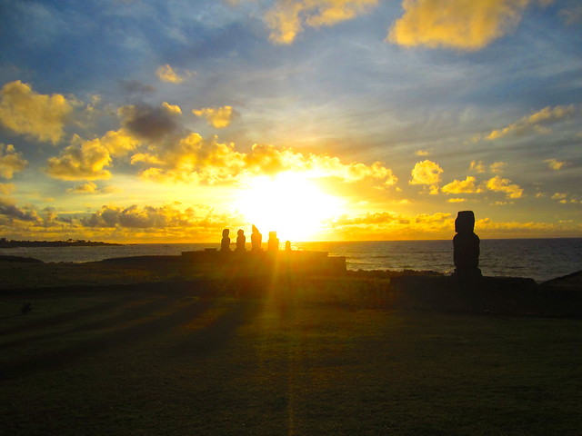 sunset over moai on easter island