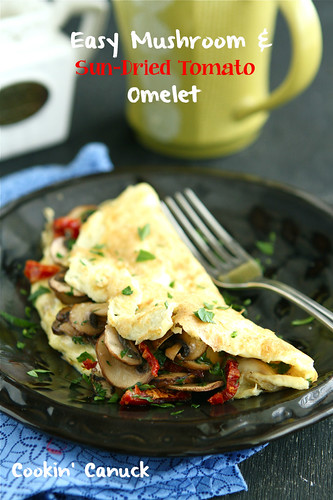 Easy Mushroom & Sun-Dried Tomato Omelet Recipe by Cookin