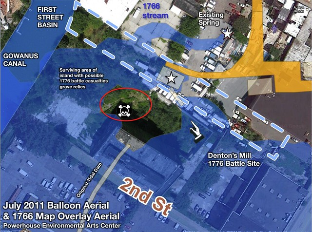 10_2011 31 July Balloon Aerial of Dentons Spring with 1766 Map overlay