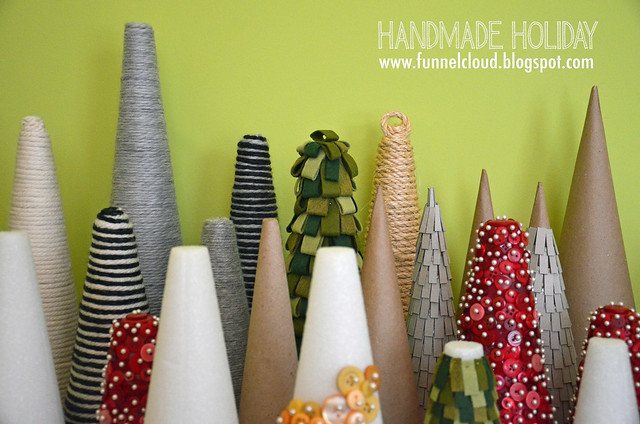 handmade holiday | yarn-wrapped cone trees