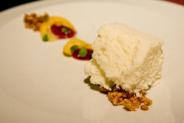 Yuzu milk ice with hazelnuts and jackfruit, wd-50